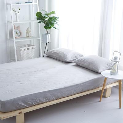 2018新款 全棉色织水洗棉单品床笠 120*200+25 浅灰色