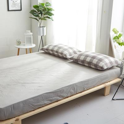 2018新款 全棉色织水洗棉单品床笠 120*200+25 浅灰中格