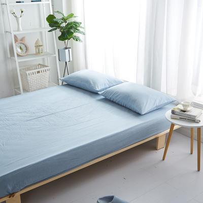 2018新款 全棉色织水洗棉单品床笠 120*200+25 浅水蓝