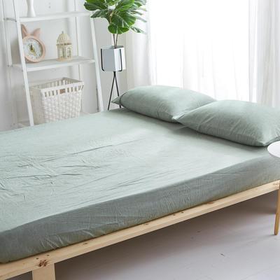 2018新款 全棉色织水洗棉单品床笠 120*200+25 一抹绿