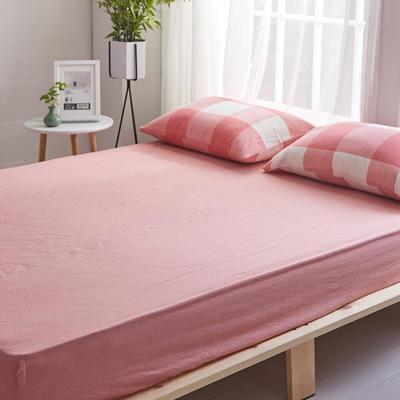 2018新款 全棉色织水洗棉单品床笠 120*200+25 粉红大格