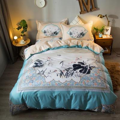 2018  40S大版匹马棉四件套 1.8m(6英尺)床 诗意未央-绿