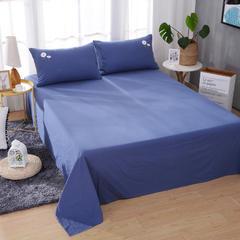 毛巾绣四件套-(全棉水洗棉单品床单) 240*250cm 小雏菊-深蓝