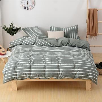 2018新款-全棉色织水洗棉四件套 床单款1.2m(4英尺)床 星条绿