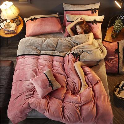加厚法莱绒四件套纯色双拼法兰绒珊瑚绒水晶绒床单款 床笠款+10元 1.0m(3.3英尺)床 豆沙-浅灰