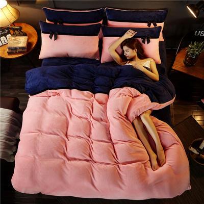 加厚法莱绒四件套纯色双拼法兰绒珊瑚绒水晶绒床单款 床笠款+10元 1.0m(3.3英尺)床 粉玉-宝蓝