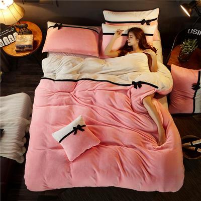 加厚法莱绒四件套纯色双拼法兰绒珊瑚绒水晶绒床单款 床笠款+10元 1.5m/1.8m床(床单款) 粉玉-奶白