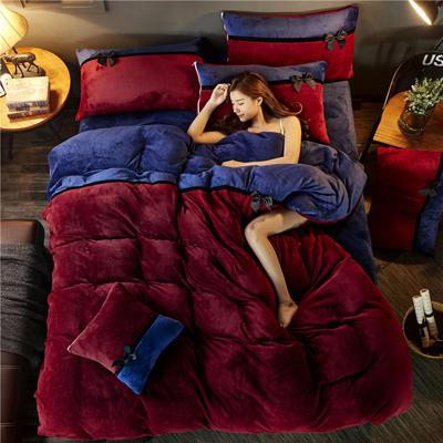 加厚法莱绒四件套纯色双拼法兰绒珊瑚绒水晶绒床单款 床笠款+10元 1.5m/1.8m床(床单款) 酒红-宝蓝