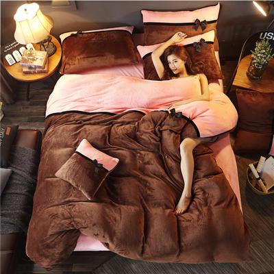 加厚法莱绒四件套纯色双拼法兰绒珊瑚绒水晶绒床单款 床笠款+10元 1.5m/1.8m床(床单款) 咖啡-粉玉
