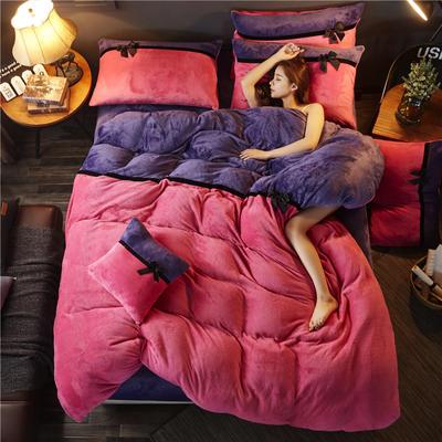 加厚法莱绒四件套纯色双拼法兰绒珊瑚绒水晶绒床单款 床笠款+10元 1.5m/1.8m床(床单款) 玫红-魅紫