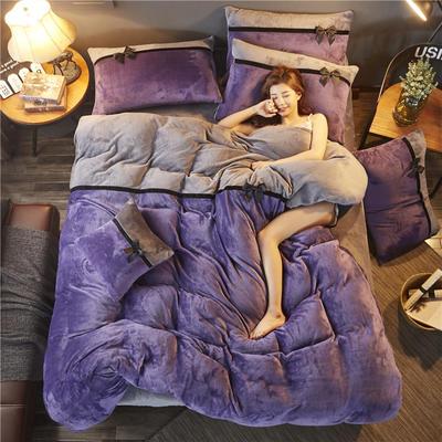 加厚法莱绒四件套纯色双拼法兰绒珊瑚绒水晶绒床单款 床笠款+10元 1.5m/1.8m床(床单款) 魅紫-深灰