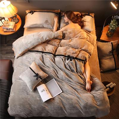 加厚法莱绒四件套纯色双拼法兰绒珊瑚绒水晶绒床单款 床笠款+10元 1.0m(3.3英尺)床 浅灰-驼色
