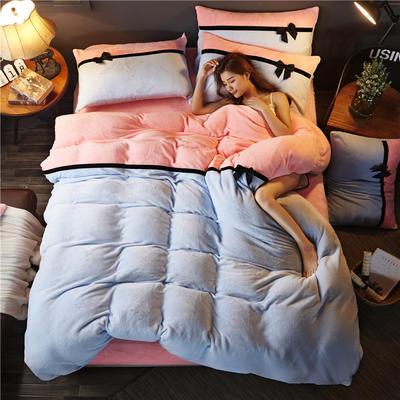 加厚法莱绒四件套纯色双拼法兰绒珊瑚绒水晶绒床单款 床笠款+10元 1.5m/1.8m床(床单款) 浅兰-粉玉