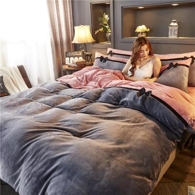 加厚法莱绒四件套纯色双拼法兰绒珊瑚绒水晶绒床单款 床笠款+10元 1.8m(6英尺)床(床笠款) 深灰-豆沙