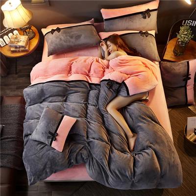 加厚法莱绒四件套纯色双拼法兰绒珊瑚绒水晶绒床单款 床笠款+10元 1.8m(6英尺)床(床笠款) 深灰-粉玉