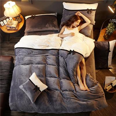加厚法莱绒四件套纯色双拼法兰绒珊瑚绒水晶绒床单款 床笠款+10元 1.8m(6英尺)床(床笠款) 深灰-奶白