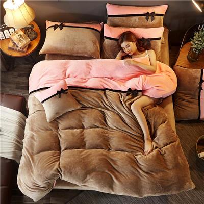 加厚法莱绒四件套纯色双拼法兰绒珊瑚绒水晶绒床单款 床笠款+10元 1.8m(6英尺)床(床笠款) 驼色-粉玉