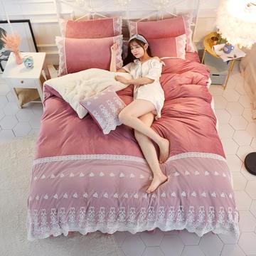 2018新款-唯美水晶绒羊羔绒+蕾丝韩版三/四件套