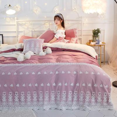 水晶绒蕾丝款四件套羊羔绒法莱绒法兰绒珊瑚绒被套床单加厚保暖 1.5m(5英尺)床 豆沙