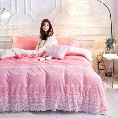 水晶绒蕾丝款四件套羊羔绒法莱绒法兰绒珊瑚绒被套床单加厚保暖 1.2m(4英尺)床/三件套 粉玉