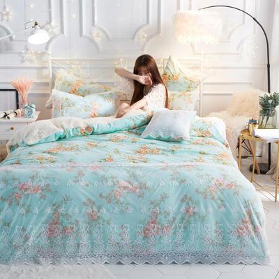水晶绒蕾丝款四件套羊羔绒法莱绒法兰绒珊瑚绒被套床单加厚保暖 1.5m(5英尺)床 兰碎花