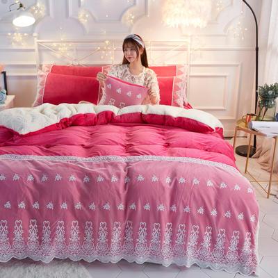 水晶绒蕾丝款四件套羊羔绒法莱绒法兰绒珊瑚绒被套床单加厚保暖 1.5m(5英尺)床 玫红