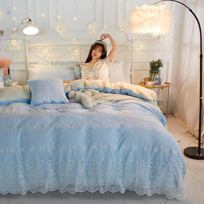 水晶绒蕾丝款四件套羊羔绒法莱绒法兰绒珊瑚绒被套床单加厚保暖 1.5m(5英尺)床 浅兰