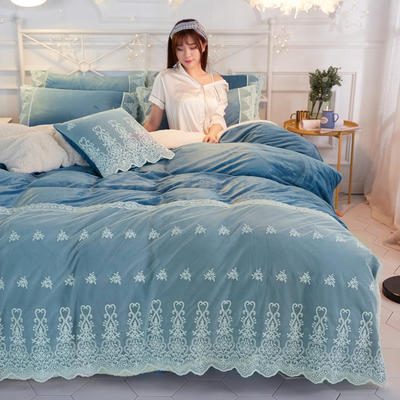 水晶绒蕾丝款四件套羊羔绒法莱绒法兰绒珊瑚绒被套床单加厚保暖 1.5m(5英尺)床 湛蓝