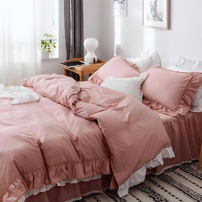 新款全棉床裙款四件套韩版公主风纯棉荷叶边花边被套-安娜 1.5m床裙款 豆沙