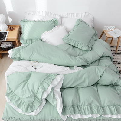 新款全棉床裙款四件套韩版公主风纯棉荷叶边花边被套-安娜 1.5m床裙款 绿