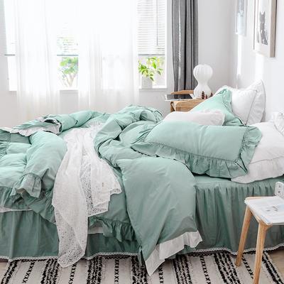 新款全棉床裙款四件套韩版公主风纯棉荷叶边花边被套-安娜 1.5m床裙款 绿色