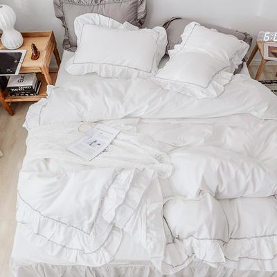 新款全棉床裙款四件套韩版公主风纯棉荷叶边花边被套-安娜 1.5m床裙款 奶白