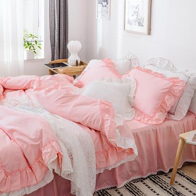新款全棉床裙款四件套韩版公主风纯棉荷叶边花边被套-安娜 1.5m床裙款 粉色