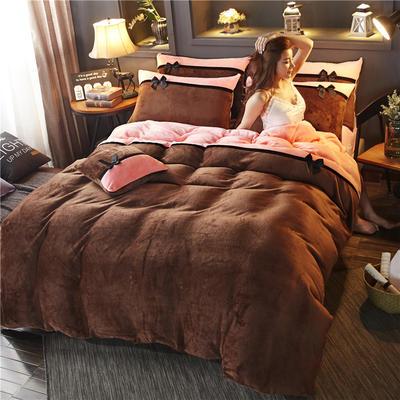 2019新款法莱绒四件套拼色工艺款纯色法兰绒珊瑚绒水晶绒床单 床笠款+10元 1.5m-1.8m床单款 咖啡-粉玉