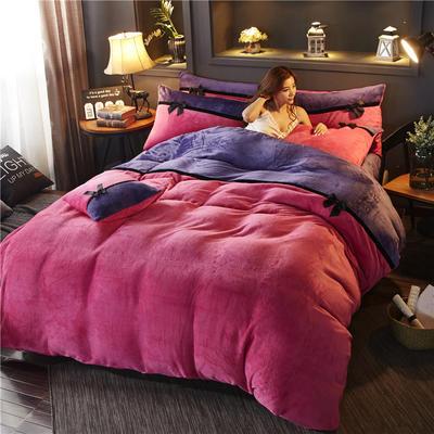 2019新款法莱绒四件套拼色工艺款纯色法兰绒珊瑚绒水晶绒床单 床笠款+10元 1.5m-1.8m床单款 玫红-魅紫