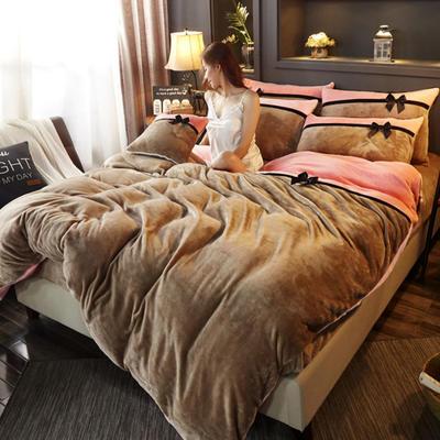 2019新款法莱绒四件套拼色工艺款纯色法兰绒珊瑚绒水晶绒床单 床笠款+10元 1.5m-1.8m床单款 驼色-粉玉