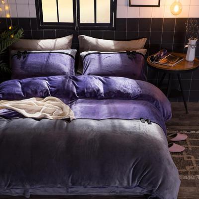 2019新款法莱绒四件套拼色工艺款纯色法兰绒珊瑚绒水晶绒床单 床笠款+10元 1.5m-1.8m床单款 新魅紫-灰