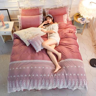 水晶绒蕾丝款四件套羊羔绒法莱绒法兰绒珊瑚绒被套床单加厚-牛奶小姐四件套 1.2m床单款三件套 牛奶小姐 - 豆沙