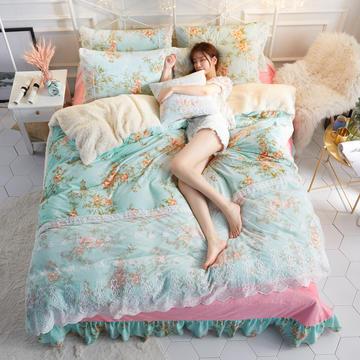 水晶绒蕾丝款四件套羊羔绒法莱绒法兰绒珊瑚绒被套床单加厚-牛奶小姐四件套