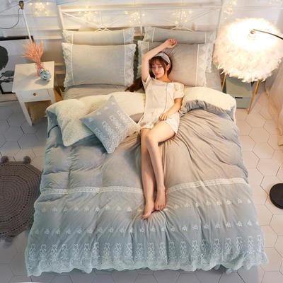 水晶绒蕾丝款四件套羊羔绒法莱绒法兰绒珊瑚绒被套床单加厚-牛奶小姐四件套 1.2m床单款三件套 牛奶小姐 - 浅灰