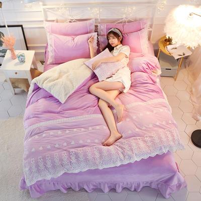 水晶绒蕾丝款四件套羊羔绒法莱绒法兰绒珊瑚绒被套床单加厚-牛奶小姐四件套 1.2m床单款三件套 牛奶小姐 - 浅紫