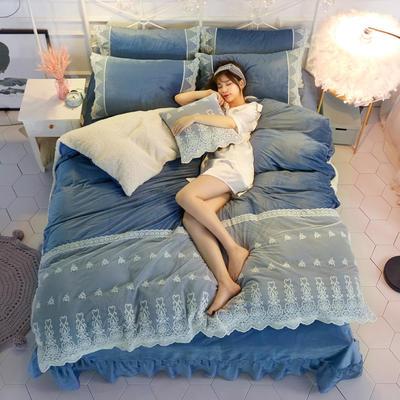 水晶绒蕾丝款四件套羊羔绒法莱绒法兰绒珊瑚绒被套床单加厚-牛奶小姐四件套 1.2m床单款三件套 牛奶小姐 - 湛蓝