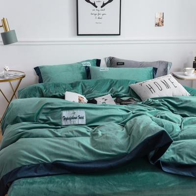 2019新款水晶绒四件套加宽边牛奶绒宝宝绒法莱绒 1.5m-1.8m床单款 时尚绿