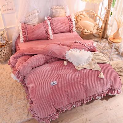 2019新款兔兔绒水晶绒四件套床裙款魔法绒法莱绒-黛茜 1.2m床裙款三件套 黛茜 豆沙
