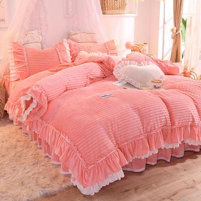 2019新款兔兔绒水晶绒四件套床裙款魔法绒法莱绒-黛茜 1.2m床裙款三件套 黛茜 粉玉