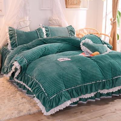 2019新款兔兔絨水晶絨四件套床裙款魔法絨法萊絨-黛茜 1.2m床裙款三件套 黛茜 灰綠