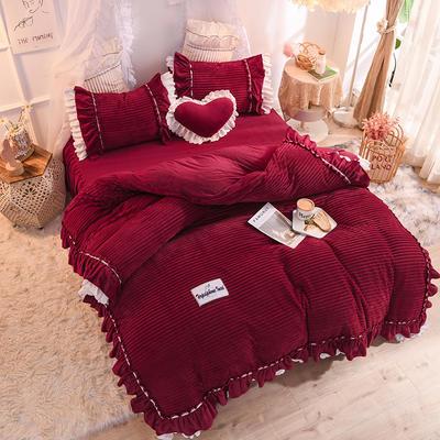 2019新款兔兔絨水晶絨四件套床裙款魔法絨法萊絨-黛茜 1.2m床裙款三件套 黛茜 蜜紅