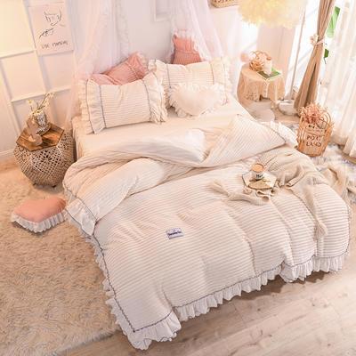 2019新款兔兔絨水晶絨四件套床裙款魔法絨法萊絨-黛茜 1.2m床裙款三件套 黛茜 奶白