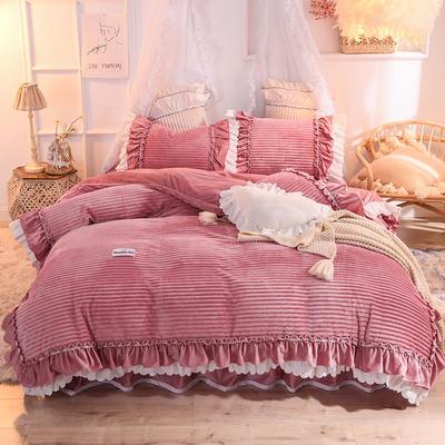 2019新款兔兔绒水晶绒四件套床单款法莱绒魔法绒牛奶绒-黛茜 1.2m床单款三件套 黛茜 豆沙