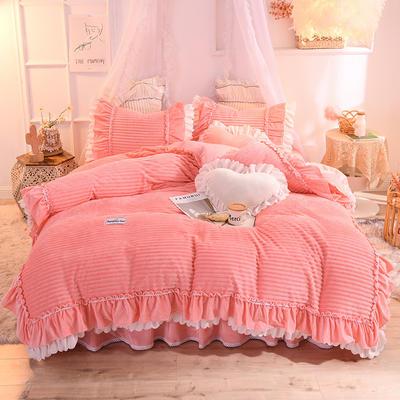 2019新款兔兔絨水晶絨四件套床單款法萊絨魔法絨牛奶絨-黛茜 1.2m床單款三件套 黛茜 粉玉